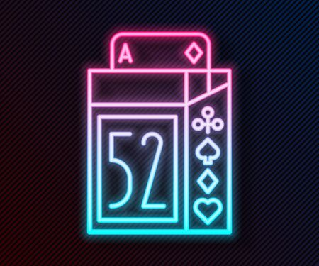 Glowing neon line Deck of playing cards icon isolated on black background. Casino gambling. Vector Illustration