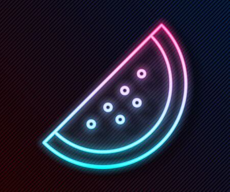 Glowing neon line Casino slot machine with watermelon symbol icon isolated on black background. Gambling games. Vector Illustration