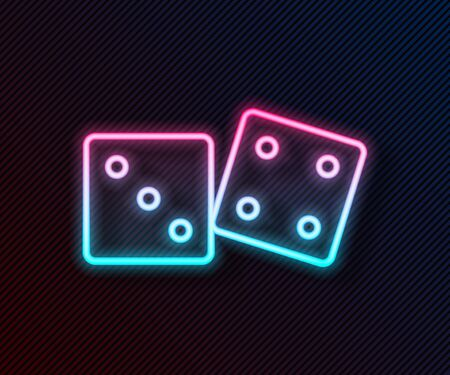 Glowing neon line Game dice icon isolated on black background. Casino gambling. Vector Illustration