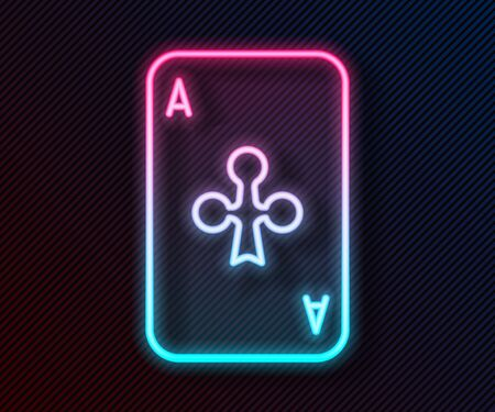 Glowing neon line Playing card with clubs symbol icon isolated on black background. Casino gambling. Vector Illustration