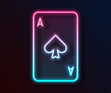 Glowing neon line Playing card with spades symbol icon isolated on black background. Casino gambling. Vector Illustration