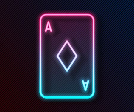 Glowing neon line Playing card with diamonds symbol icon isolated on black background. Casino gambling. Vector Illustration