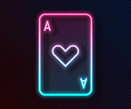 Glowing neon line Playing card with heart symbol icon isolated on black background. Casino gambling. Vector Illustration