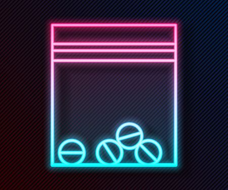 Glowing neon line Plastic bag of drug icon isolated on black background. Health danger. Vector Illustration