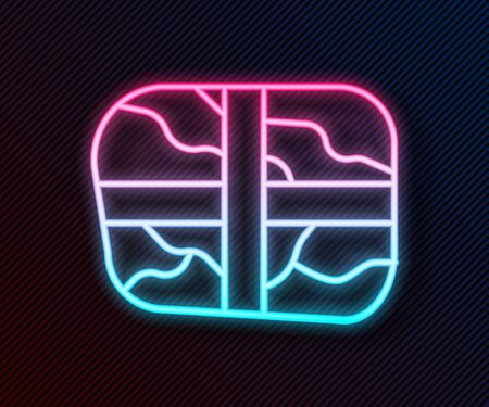 Glowing neon line Package with cocaine icon isolated on black background. Health danger. Vector Illustration Çizim