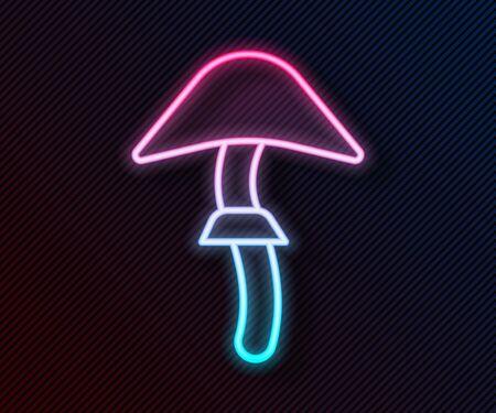 Glowing neon line Psilocybin mushroom icon isolated on black background. Psychedelic hallucination. Vector Illustration