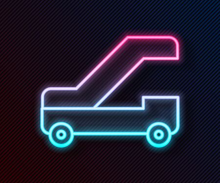 Glowing neon line Passenger ladder for plane boarding icon isolated on black background. Airport stair travel. Vector Illustration