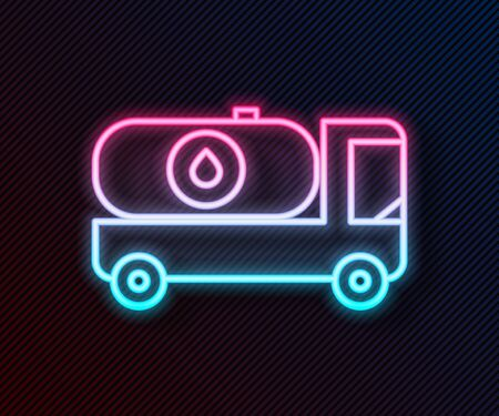 Glowing neon line Fuel tanker truck icon isolated on black background. Gasoline tanker. Vector Illustration