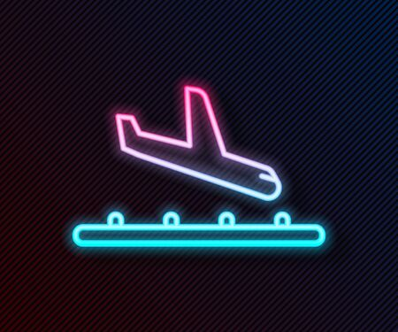 Glowing neon line Plane landing icon isolated on black background. Airplane transport symbol. Vector Illustration