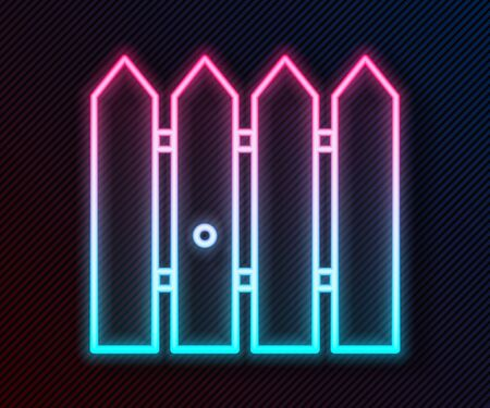 Glowing neon line Garden fence wooden icon isolated on black background. Vector Illustration 向量圖像