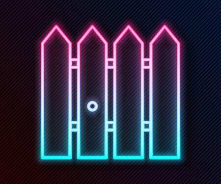 Glowing neon line Garden fence wooden icon isolated on black background. Vector Illustration Ilustração