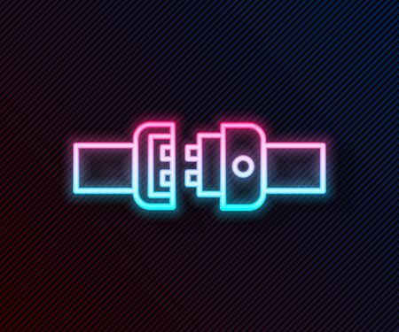 Glowing neon line Safety belt icon isolated on black background. Seat belt. Vector Illustration