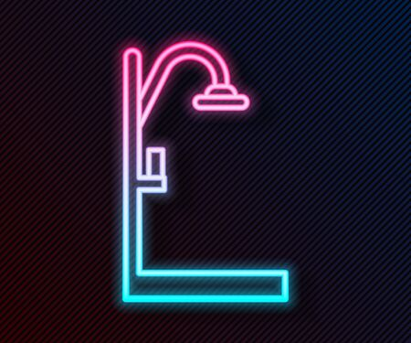 Glowing neon line Shower icon isolated on black background. Vector Illustration