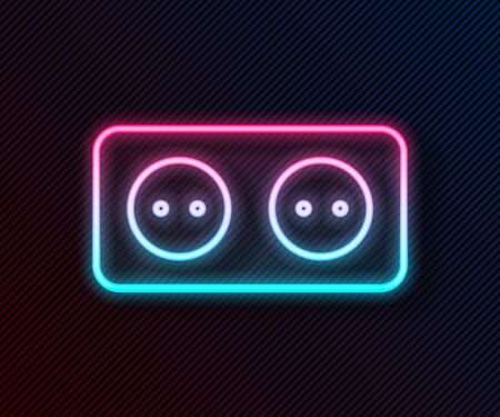 Glowing neon line Electrical outlet icon isolated on black background. Power socket. Rosette symbol. Vector Illustration