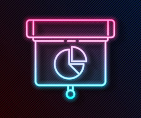 Glowing neon line Presentation financial business board with graph, schedule, chart, diagram, infographic, pie graph icon isolated on black background. Vector Illustration 向量圖像
