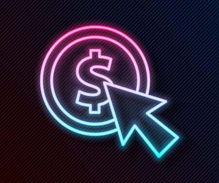 Glowing neon line Cursor and coin icon isolated on black background. Dollar or USD symbol. Cash Banking currency sign. Vector Illustration