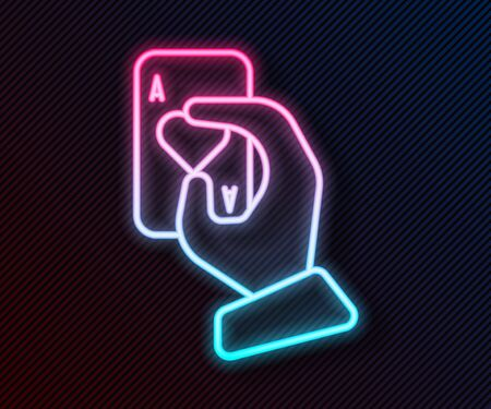 Glowing neon line Hand holding playing cards icon isolated on black background. Casino game design. Vector Illustration