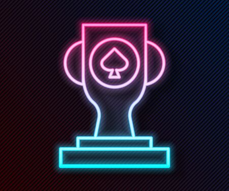 Glowing neon line Casino poker trophy cup icon isolated on black background. Vector Illustration Ilustracja