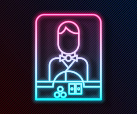 Glowing neon line Casino dealer icon isolated on black background. Casino croupier. Vector Illustration