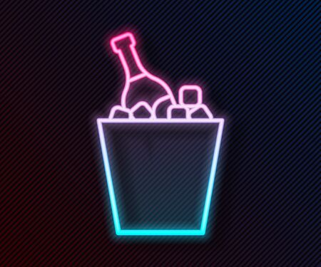 Glowing neon line Bottle of champagne in an ice bucket icon isolated on black background. Vector Illustration Stock Illustratie