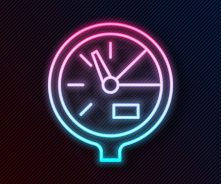 Glowing neon line Water meter icon isolated on black background. Vector Illustration