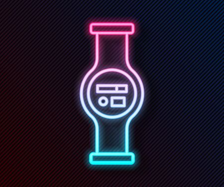 Glowing neon line Water meter with pipeline icon isolated on black background. Vector Illustration