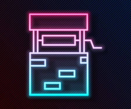 Glowing neon line Well icon isolated on black background. Vector Illustration