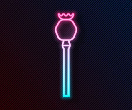 Glowing neon line Opium poppy icon isolated on black background. Vector Illustration