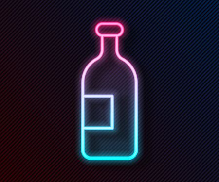 Glowing neon line Alcohol drink bottle icon isolated on black background. Vector Illustration