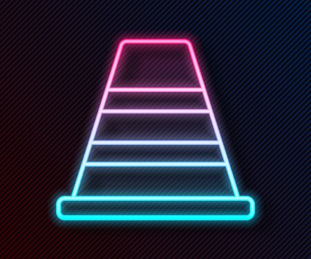 Glowing neon line Traffic cone icon isolated on black background. Vector Illustration Stock Illustratie