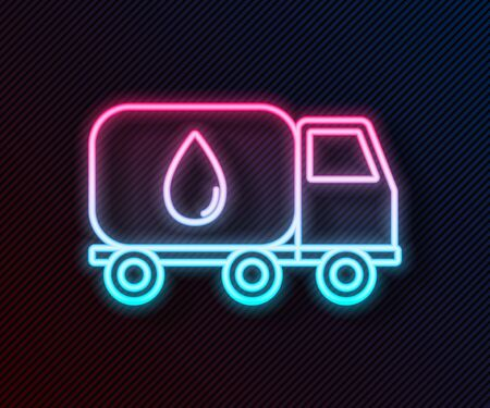 Glowing neon line Water delivery truck icon isolated on black background. Vector Illustration