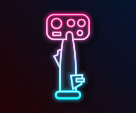 Glowing neon line Aircraft steering helm icon isolated on black background. Aircraft control wheel. Vector Illustration