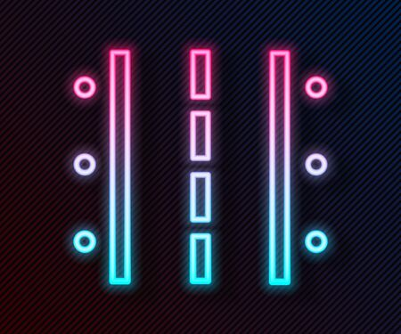 Glowing neon line Airport runway for taking off and landing aircrafts icon isolated on black background. Vector Illustration