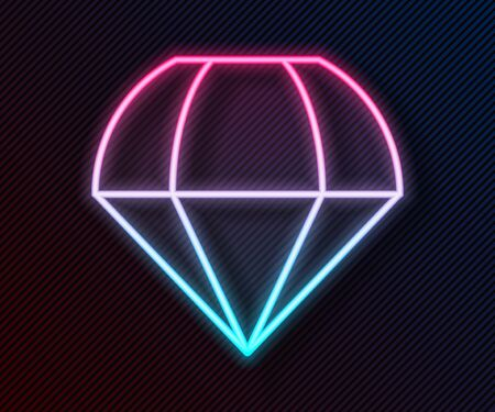 Glowing neon line Parachute icon isolated on black background. Vector Illustration