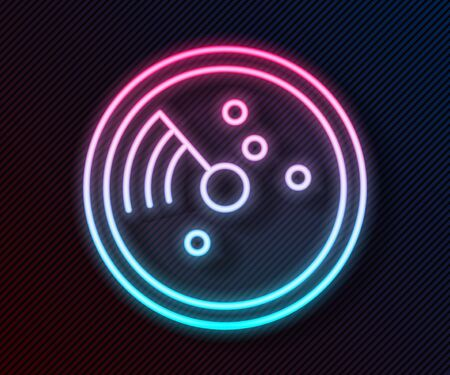 Glowing neon line Radar with targets on monitor in searching icon isolated on black background. Search system. Navy sonar. Vector Illustration