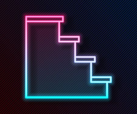 Glowing neon line Staircase icon isolated on black background. Vector Illustration