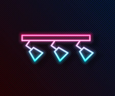 Glowing neon line Led track lights and lamps with spotlights icon isolated on black background. Vector Illustration Иллюстрация