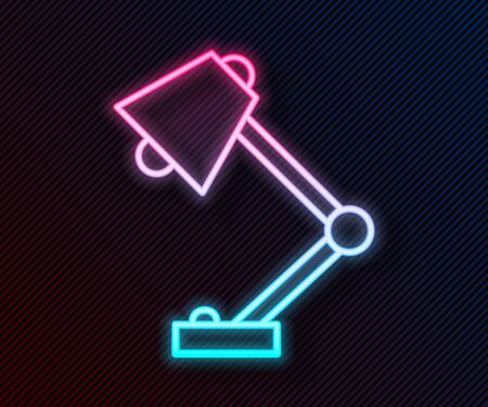 Glowing neon line Table lamp icon isolated on black background. Vector Illustration