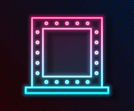 Glowing neon line Makeup mirror with lights icon isolated on black background. Vector Illustration Stock Illustratie