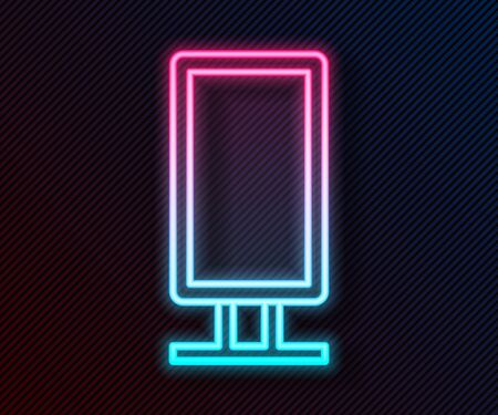 Glowing neon line Big full length mirror for bedroom, shops, backstage icon isolated on black background. Vector Illustration Ilustrace