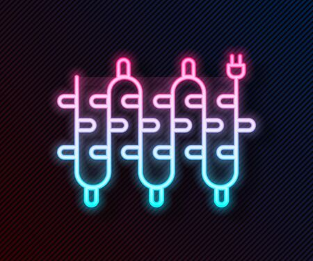 Glowing neon line Christmas lights icon isolated on black background. Merry Christmas and Happy New Year. Vector Illustration