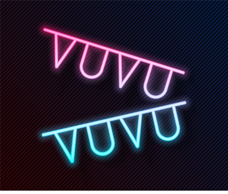 Glowing neon line Carnival garland with flags icon isolated on black background. Party pennants for birthday celebration, festival decoration. Vector Illustration 向量圖像