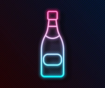 Glowing neon line Champagne bottle icon isolated on black background. Vector Illustration