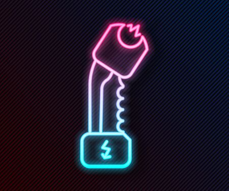 Glowing neon line Police electric shocker icon isolated on black background. Shocker for protection. Taser is an electric weapon. Vector Illustration Иллюстрация