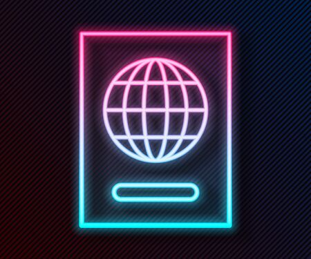 Glowing neon line Passport with biometric data icon isolated on black background. Identification Document. Vector Illustration