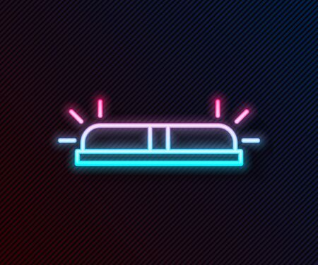 Glowing neon line Flasher siren icon isolated on black background. Emergency flashing siren. Vector Illustration