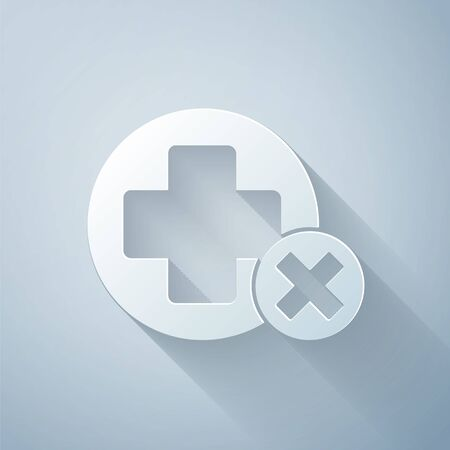 Paper cut Cross hospital medical icon isolated on grey background. First aid. Diagnostics symbol. Medicine and pharmacy sign. Paper art style. Vector Illustration Illusztráció