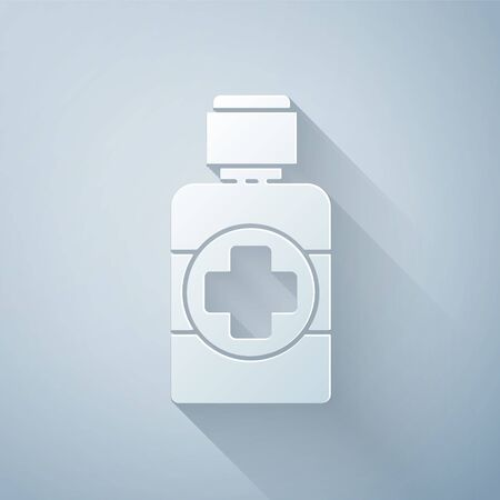 Paper cut Bottle of medicine syrup icon isolated on grey background. Paper art style. Vector Illustration