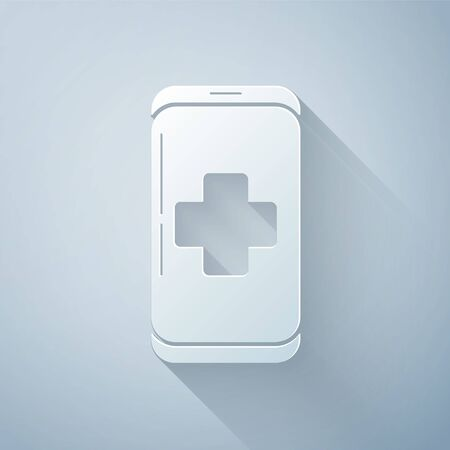 Paper cut Emergency mobile phone call to hospital icon isolated on grey background. Paper art style. Vector Illustration