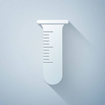 Paper cut Test tube and flask icon isolated on grey background. Chemical laboratory test. Laboratory glassware. Paper art style. Vector Illustration